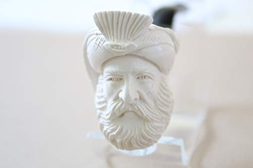White Turkish Meerschaum Cabalash Lattice Smoking Pipe Handcrafted, Unique Design by Handmade Studio