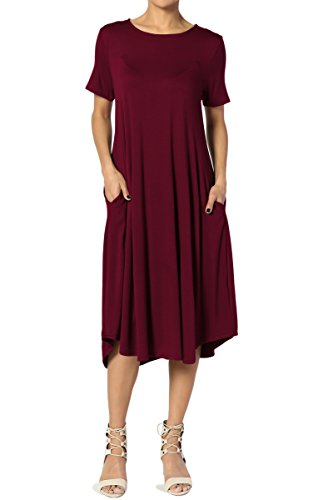TheMogan Women's Short Sleeve Pocket A-Line Fit and Flare Midi Dress Dark Burgundy 2XL (Knit Dress Seamed)