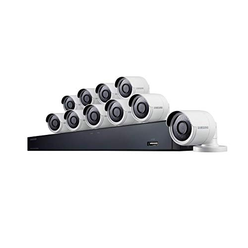 Samsung Wisenet SDH-C85100BF 16 Channel 4MP Super HD DVR Video Security System with 2TB Hard Drive and 10 4MP Weather Resistant Bullet Cameras (SDC-89440BF) (Samsung Surveillance System)