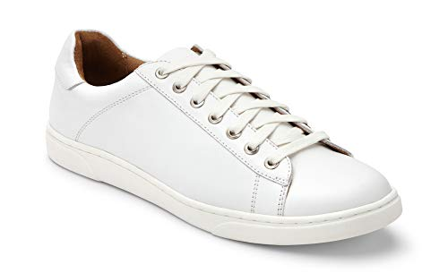 Vionic Men's Mott Baldwin Lace-up Sneaker - Leather Shoes for Men with Concealed Orthotic Support White 10 M US (Baldwin Leather)