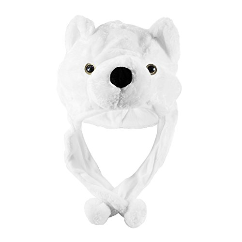 Polar Bear Cute Plush Animal Winter Ski Hat Aviator Style Winter Fashion (Short) (Bear Hat With Mittens)
