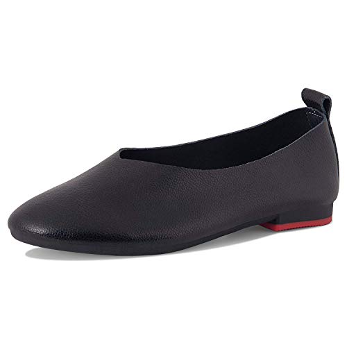 Ruiatoo Slip-on Shoes for Women Casual Glove Shoes Genuine Leather Comfort Ballet Flat (8807, Black 36)