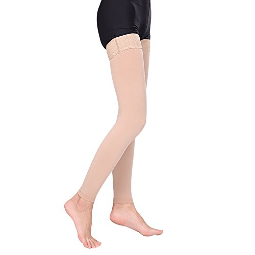 Ztl Thigh High Compression Stockings Women Men, 30-40 mmHg Medical Grade Gradient Compression Socks with Silicone Band, Treatment Swelling, Varicose Veins, Edema (Open Toe/Closed Toe/Footless)