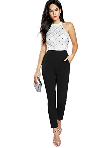 DIDK Women's Stretchy Scallop Edge Halter Slim Fit High Waist Zipper Long Jumpsuit (Small, Multicolor)