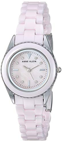 Anne Klein Women's AK/3165LPSV Swarovski Crystal Accented Silver-Tone and Light Pink Ceramic Bracelet Watch