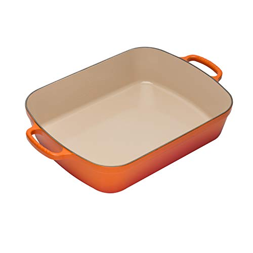 Le Creuset Signature Cast Iron Rectangular Roaster, 5.25-Quart, Flame