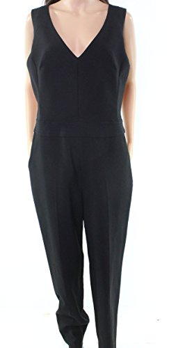 Trina Turk Deep Women's V-Neck Seamed Jumpsuit Black 6