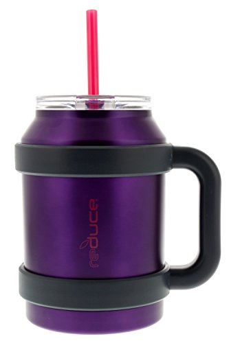 reduce COLD-1 Extra Large Vacuum Insulated Big Thermal Mug with Wide Bottom, 3-in-1 Lid & Straw, Ergonomic Handle, 50 oz, Tasteless and Odorless - Purple w/Pink (Stainless Steel Oversized Mug)