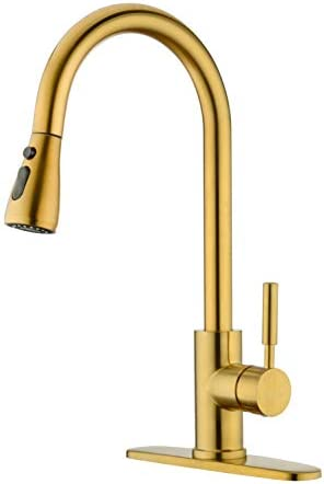 BZOOSIU Brushed Gold Brass Pull out Kitchen Faucet, Kitchen Faucet with Pull Down Sprayer, Single Hole and 3 Hole Deck Mount, Brushed Brass