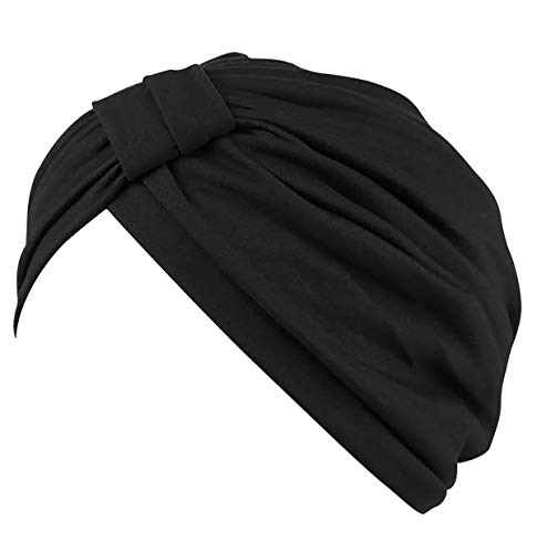 JarseHera Chemo Turbans for Women Pre Tied Modal Cotton Vintage Cover Twist Pleasted Hair Caps (Style1-Black,1 Pair, One Size Fit All)