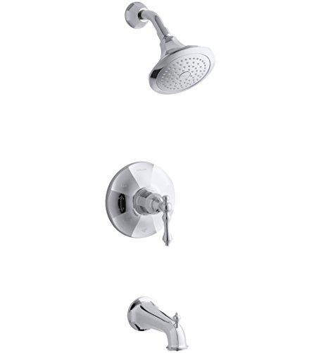 Kohler TS13492-4E-CP Rite-Temp Bath & Shower Valve Trim with Lever Handle, Spout & 2.0 Gpm Showerhead by Kohler
