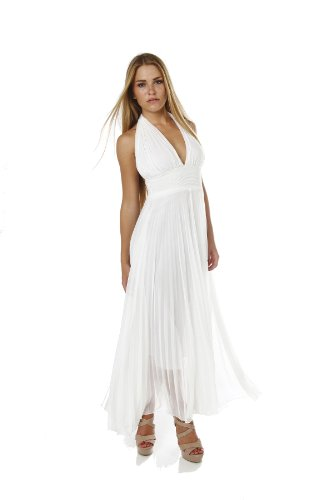 Marilyn Monroe Long Chiffon Pleated Halter Dress Maxi (Small ...