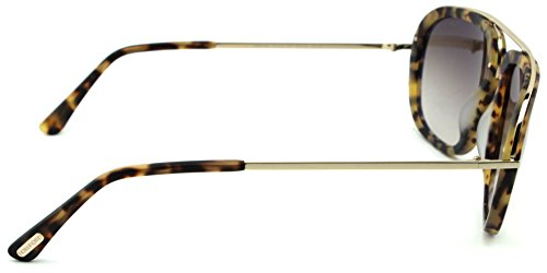 Tom Ford FT 0453 Johnson Unisex Metal Geometric Sunglasses (Blonde Havana Frame, Gradient Brown Lens 53F) by Tom Ford (Image #2)