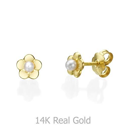 Gold Earrings Flower Yellow - 14K Fine Yellow Gold Pearls Flower Screw Back Stud Earrings for Baby Girls Gift Kids Children