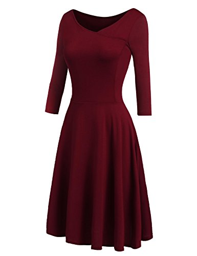 Beyove Fit Et Flare Mancherons Robe Style Vestimentaire Midi Swing V-cou Rouge 3-vin Féminin
