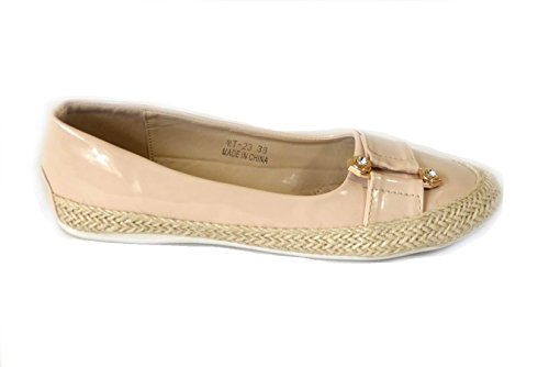Womens Loafers Flat Casual Comfort Office Ladies Floral Summer Pumps Espadrilles Shoes Beige (Mt23) ij6j27
