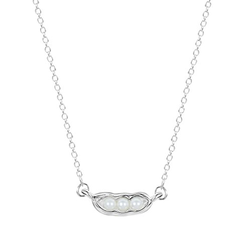 (Fashion Woman Gold Silver Plated Three Pea in Pod Necklace Pearl Pea Necklace Pendant (Silver) )