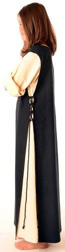 Leinenstruktur HEMAD Skapulier S mit reine naturbeige mit Mittelalter Kleid Schwarz Baumwolle XL Beige Damen 6xqYIrX6Pw