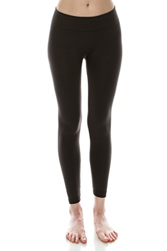 EttelLut 3 Pack Fleece Lined black leggings plus size Women and Juniors Blk Char Navy PS