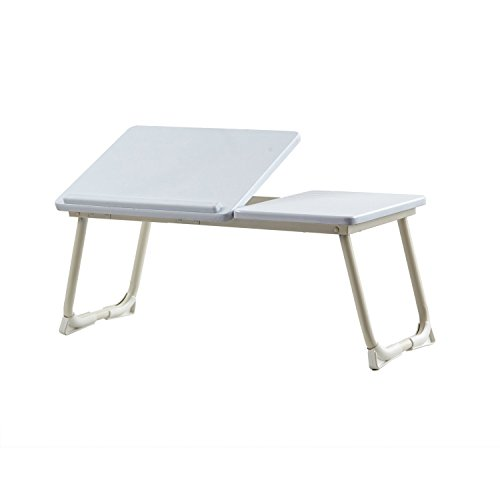 GreenForest Portable Foldable Home and Office Supplies MDF Beige Lap Desk Tray Laptop Stand White
