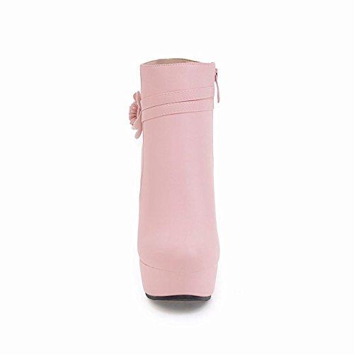 Mee Shoes Women's Charm Flower High Heel Platform Zip Short Boots Pink D66Or9nV