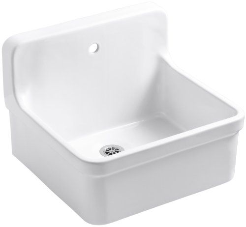 Kohler K-12784-0 Gilford Scrub-Up/Plaster Sink with Single-Hole Faucet Drilling, 24