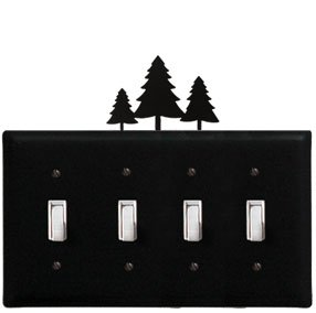 - 8.25 Inch Pine Trees Quadruple Switch Cover