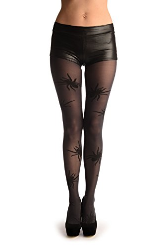 (Grey With Woven Black Widow Spider (Halloween) - Pantyhose (Tights))
