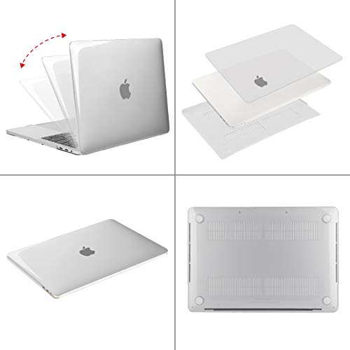 MOSISO MacBook Pro 15 inch Case 2019 2018 2017 2016 Release A1990 A1707, Plastic Hard Shell Case&Keyboard Cover&Screen Protector&Storage Bag Compatible with MacBook Pro 15 Touch Bar, Crystal Clear