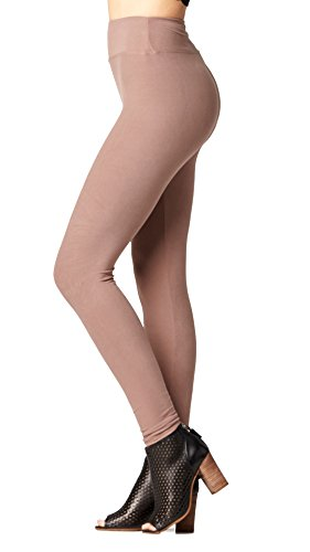 Ankle Length Tights - Conceited Super Soft High Waisted Leggings for Women - Full Length Mocha Brown - Small/Medium (0-10)