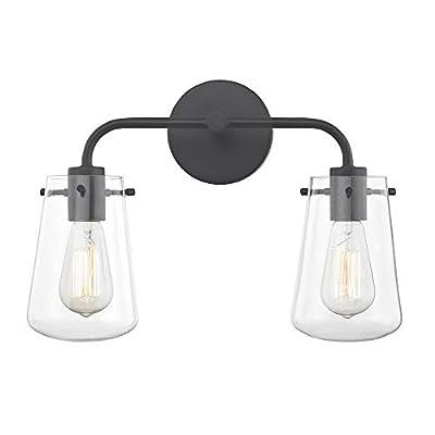 2-Light Clear Glass Bathroom Light Black