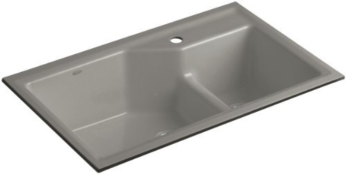 Kohler K-6411-1-K4 Indio Undercounter Double Offset Basin Kitchen Sink with Single-Hole Faucet Drilling, Cashmere