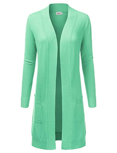 Mint Long (JJ Perfection Womens Light Weight Long Sleeve Open Front Long Cardigan Mint L)