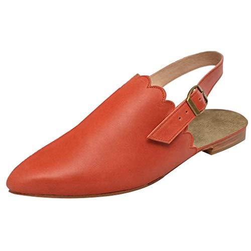 TnaIolral Women Sandals, Platform Slippers Slingback Mules Elegant Pointed Summer Shoes (US:5, Orange)