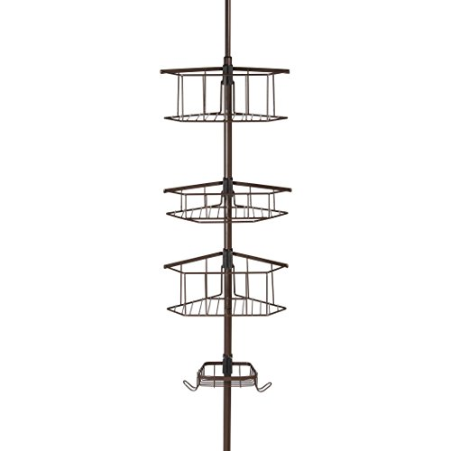 HomeCrate Three Tier Corner Tension Pole Shower Caddy 9/FT Height With Soap Dish