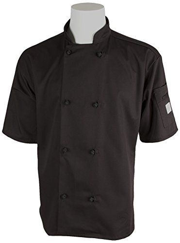 Mercer Culinary M60014BK5X Millennia Men's Short Sleeve Cook Jacket with Cloth Knot Buttons, 5X-Large, Black by Mercer Culinary