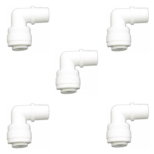 OUMEIXING 1//8 Male Thread to 1//4 Tube Elbow Quick Connect Fitting for Reverse Osmosis Water Valve Filter Pack of 5 JiuWu