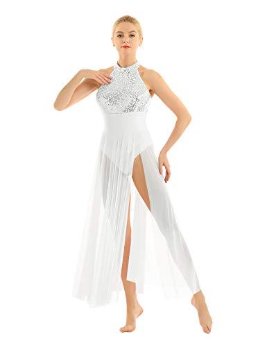dPois Women Adult Halter Neck Sleeveless Ballet Dance Dress Glitter Sequins Mesh Tulle Skirt Camisole Leotard Costume White Large