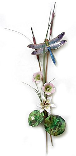 Bovano - Wall Sculpture - Blue Dragonfly w/ Lily, Mallows, and (Bovano Wall Sculpture)