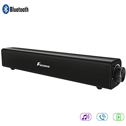Soundbar, Foxnovo Bluetooth Soundbar 20W Wired and Wireless Home Theater Bluetooth Speaker Audio Surround SoundBar for TV, PC, Cell Phone, Tablets Projector or Wireless Devices