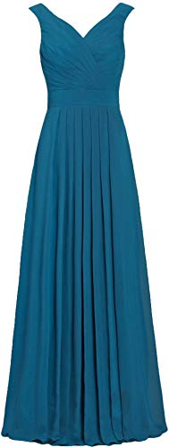 ANTS Formal Straight Straps Long Bridesmaid Dresses Chiffon Prom Gowns