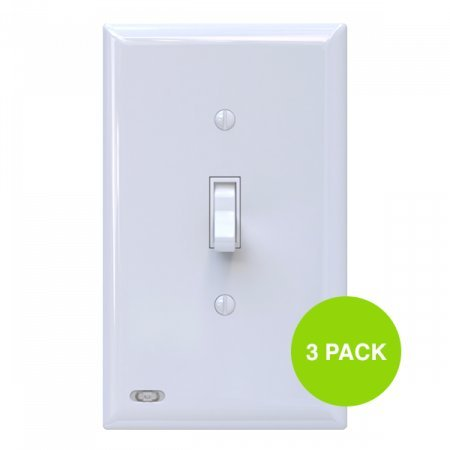 3 Pack SnapPower SwitchLight - Light Switch Cover Plate With Built-In LED Night Light - Add Ambience Lighting To Your Home In Seconds - (Toggle, White)