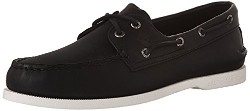 SPERRY Men's A/O 2-Eye Boat Shoe, Black/White, 10 M US