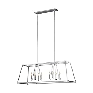 Feiss F3152/8CH Conant Candle Island Chandelier Lighting, Chrome, 8-Light (48″L x 16″H) 480watts
