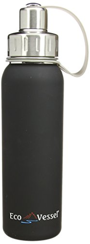 EcoVessel Bold Stainless Steel Water Bottle with Sport Screw Cap, 25-Ounce, Black Shadow from EcoVessel