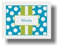 Paparte Note Cards (707 Blue and Green Stripe Name)