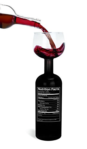 "BigMouth Inc Original Wine Bottle Glass - ""Nutrition Label"""