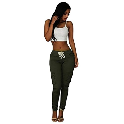 casual-solid-stretch-drawstring-skinny-pants-for-women-trousers-m-green