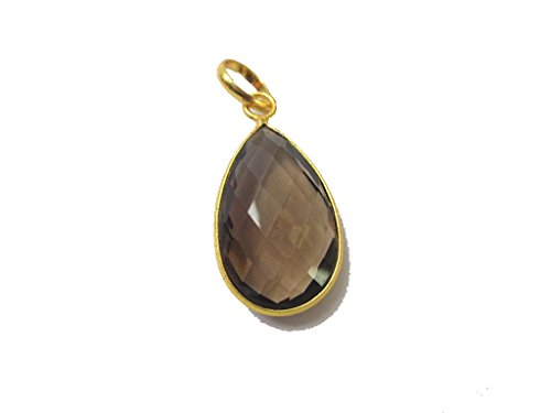 - 15x25mm Teardrop Smoky Quartz Pendant, Gift for Her, 18k Gold Filled Pendant