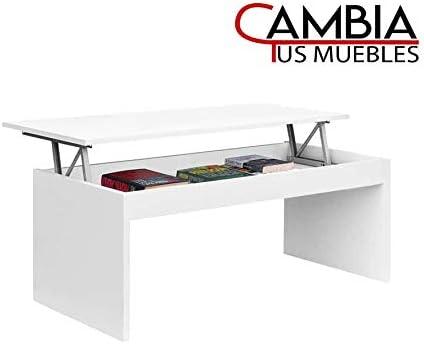 sal/ón Premier Blanco Mesa Auxiliar en Color Roble o Blanco CAMBIA TUS MUEBLES Mesa de Centro elevable para Comedor